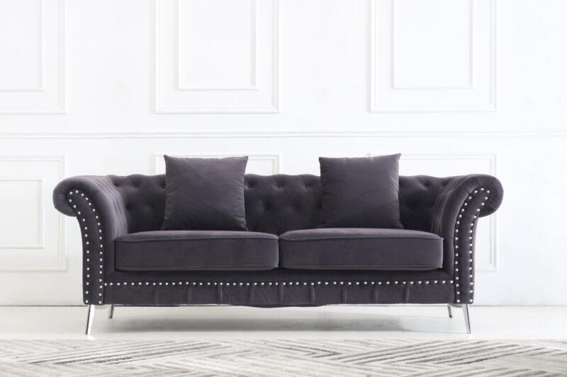 Melinda 3-sits i mörkgrå sammet