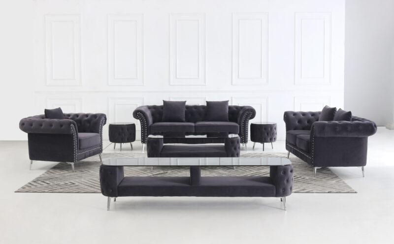 Melinda komplett mörkgrå sammet - inkl. pall, soffbord och TV-bänk