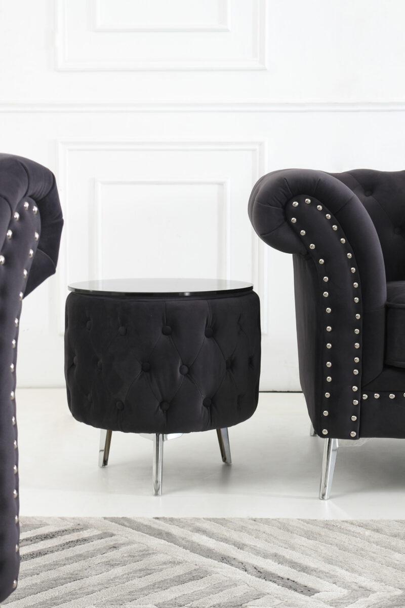 Melinda sidobord mörkgrå sammet - M&M Collection