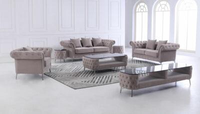 Melinda soffgrupp med soffbord, pall, och TV-bänk