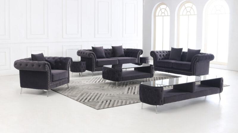 Melinda soffgrupp mörkgrå sammet med soffbord, pall, och TV-bänk