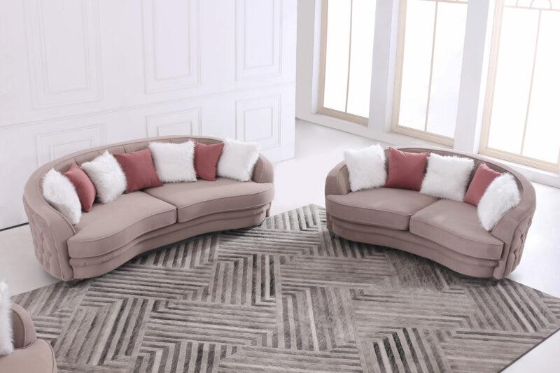 Leona design soffgrupp - Gråbeige sammet - 3-sits och 2-sits