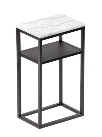 Accent sidobord - 30x40 cm - Ljus marmor med svart underrede med hylla