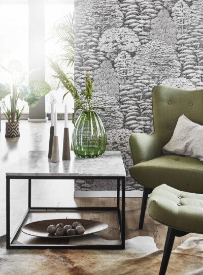 Accent soffbord - Svart underrede med ljus marmor