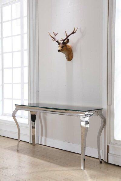 Selma konsolbord och avlastningsbord - Silverben med svart glasskiva
