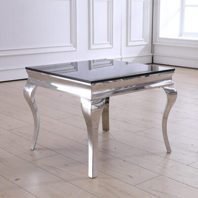 Selma sidobord - Rostfri stål med toppskiva i svart glas