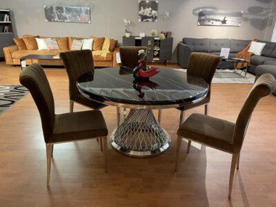 Freja matbord - Svart marmor med silver underrede i rostfritt stål - Folkets Möbler